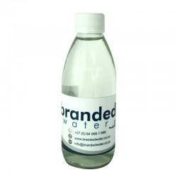 Branded glass bottled water...